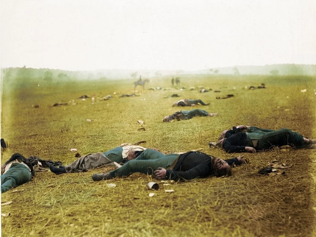"""The bodies of several Union soldiers lie on the battlefield. This photo is known as """"Harvest of Death."""""""