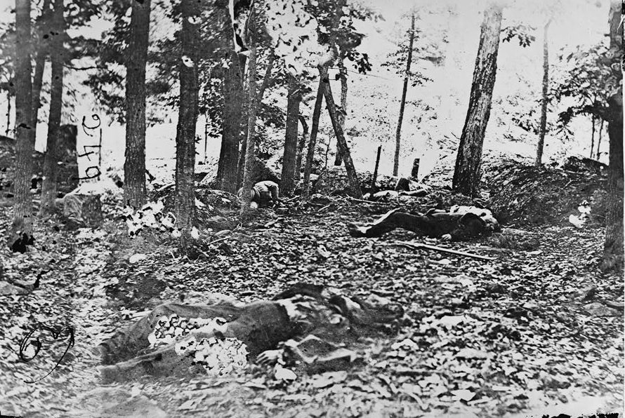 Scene in the woods at foot of Round Top at Battle of Gettysburg. - Title from negative sleeve. July 1863