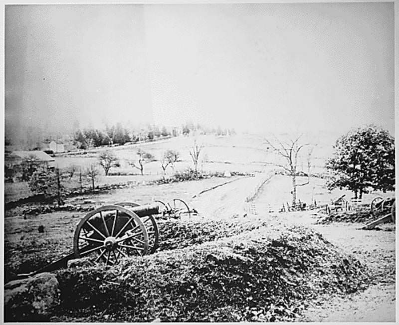 Cannons sit abandoned after the first day of Battle of Gettysburg.