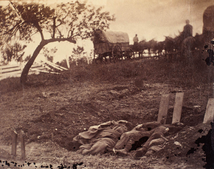 The bodies of a group of Confederate soldiers wait to be buried.