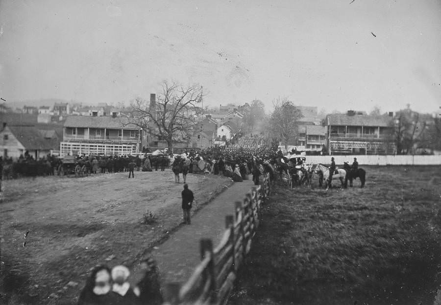 Crowds gather for the dedication of the Soldiers' National Cemetery (when Abraham Lincoln delivered the Gettysburg Address) in Gettysburg on Nov. 19, 1863.