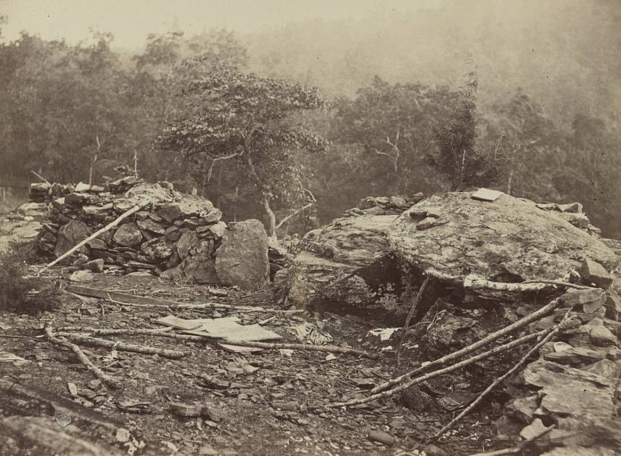 Union entrenchments on Little Round Top, a hill near the southern end of where the Battle of Gettysburg was fought.