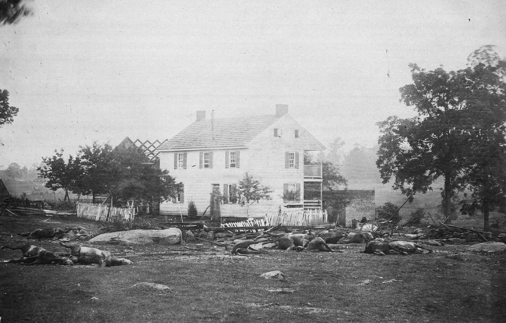 Dead horses surround the Trostle House, which Union Major General Daniel Sickles used as his headquarters, and which was the scene of fierce fighting during the Battle of Gettysburg, in early July, 1863