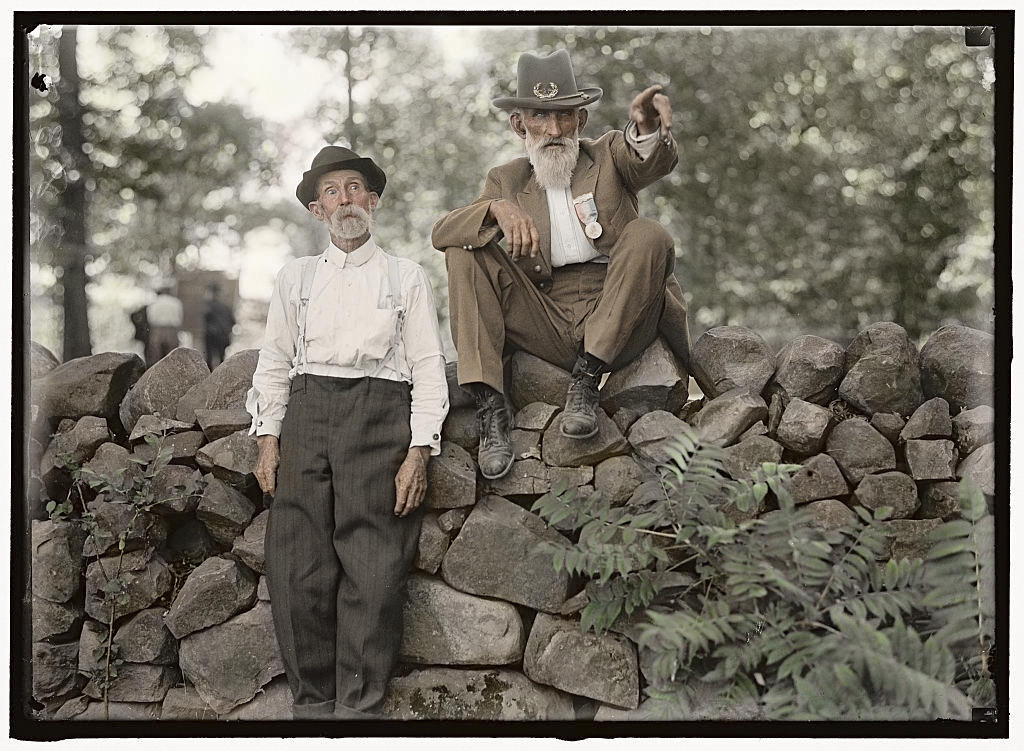 Two survivors of the Battle of Gettysburg at the 50th anniversary reunion, July 1913.