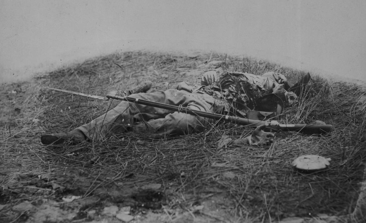 A Confederate sharp-shooter, who had been killed by a shell at battle of Gettysburg, James F. Gibson,1863