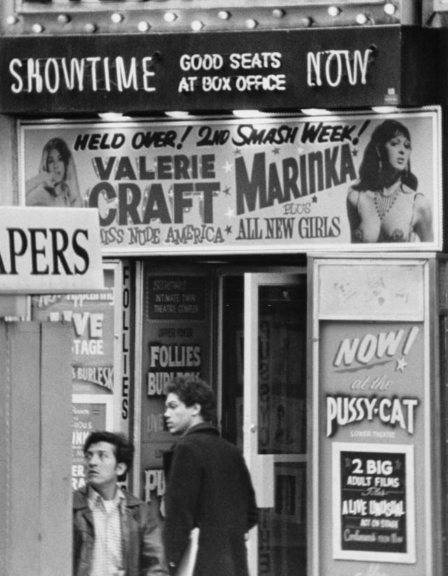 The 'Follies Burlesk' showing the upcoming shows for 'Valerie Craft' and 'Marinka', 46th St. and Broadway, New York City, 1978.