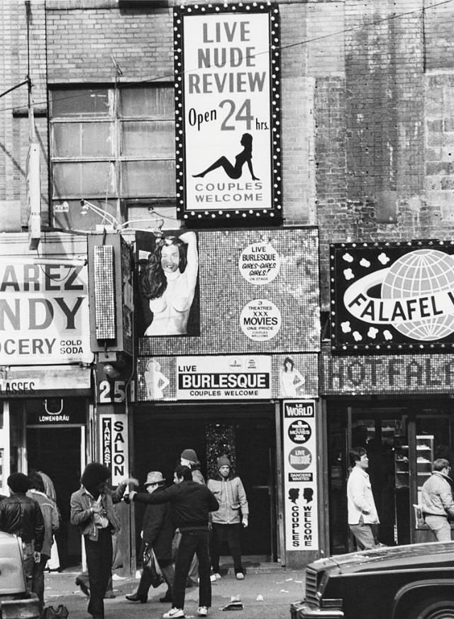 A view of the entrance to the 'Live Nude Review' on West 42nd Street, New York City, 1978.