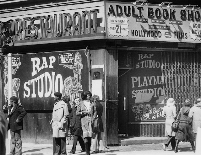 The entrance to the 'Rap Studio', a strip club and adult book shop in New York City, 1978.