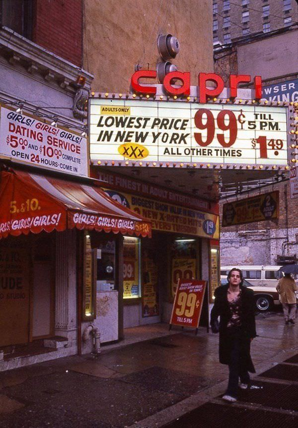 """By the late 1970s, adult stores and theaters dominated Times Square, with Rolling Stone referring to it as the """"sleaziest block in America"""" in 1981."""