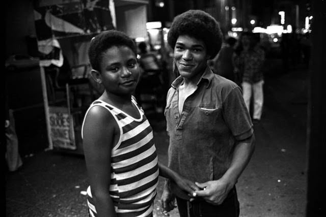 Two young hustlers in Times Square.