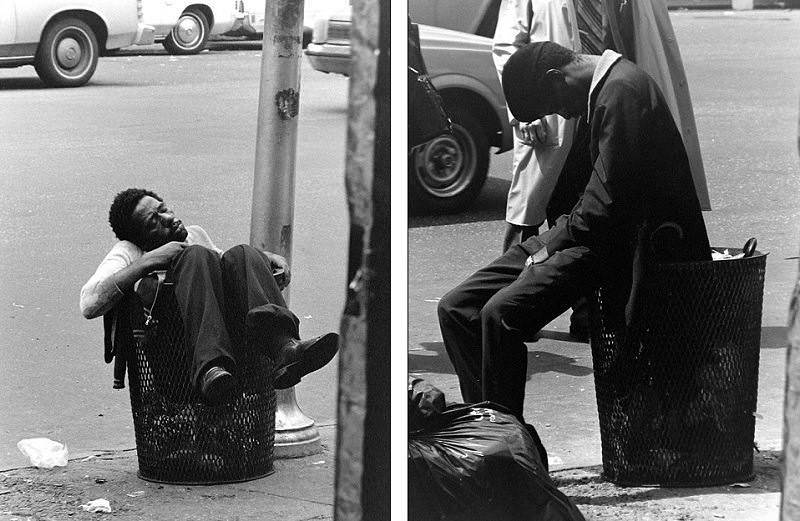 A homeless man sleeps on the sidewalk in front of the McAuley Cremorne Mission in 1985.