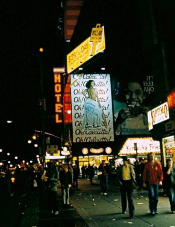 An advertisement for the musical Oh Calcutta dominates the corner of 8th Avenue and 42nd Street in 1981.