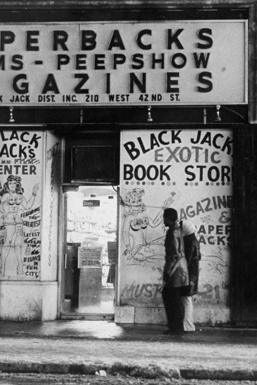 """Black Jack Exotic Book Store on 42nd Street between Seventh and Eighth Avenue features the """"latest and greatest."""" These stores were rampant in the 1970s."""