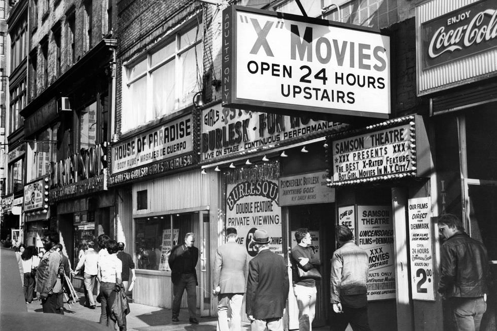A porn shop with cinema and live shows in the Times Square area in October 1975.