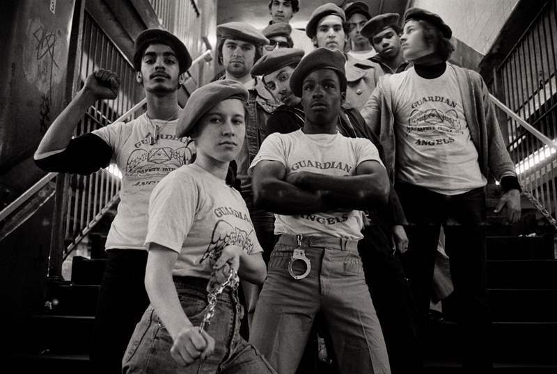 A team of the Guardian Angels -- a volunteer patrol group dedicated to making New York's subway system safe -- get ready to go on patrol in 1980.