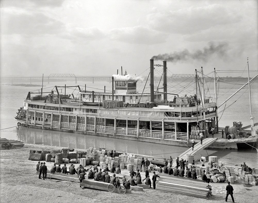 The Ohio River and levee Louisville, 1905