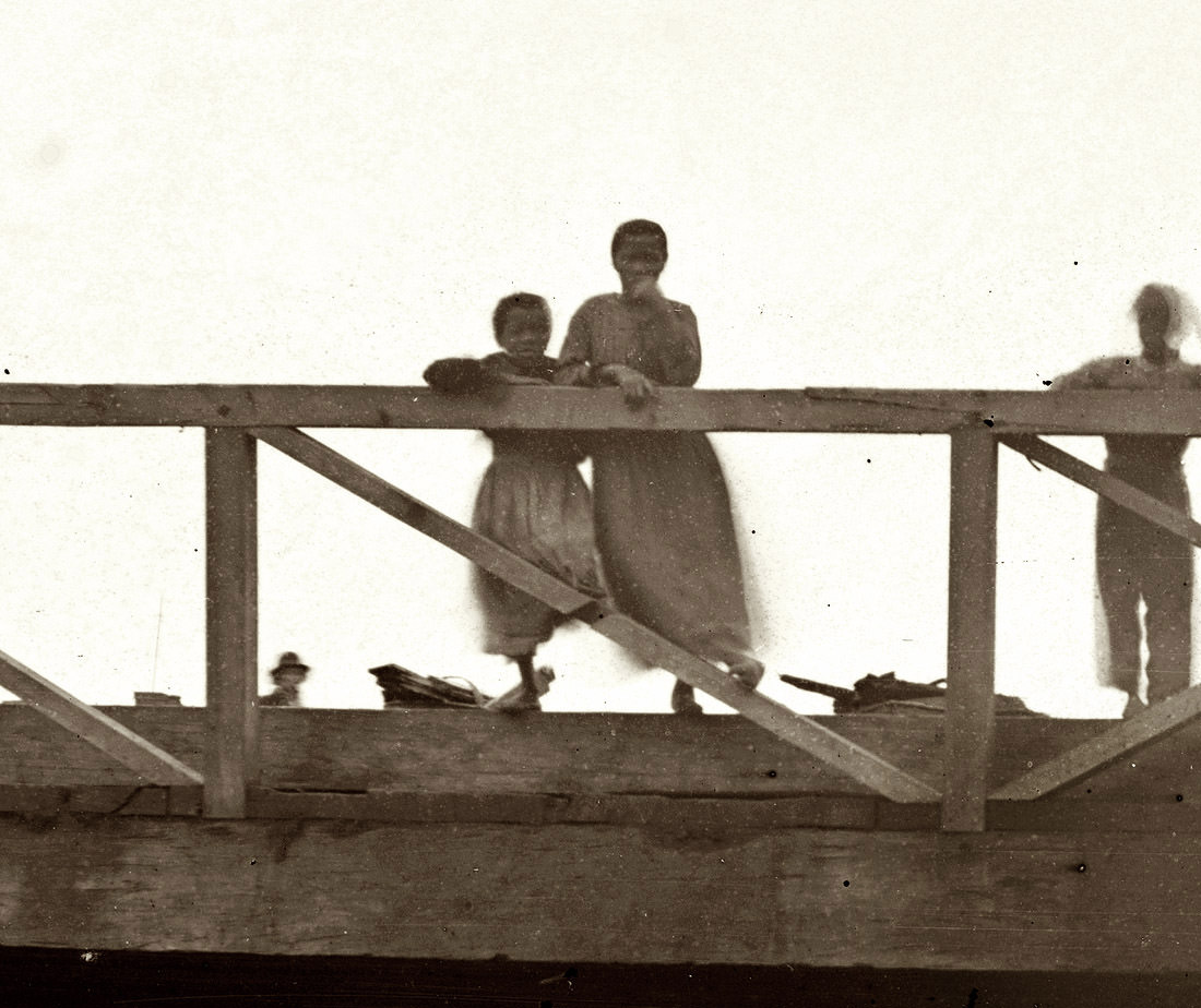 A closeup of the young ladies shown in an earlier post of the Canal Bridge at Seventh Street in Richmond, Virginia, Spring 1865