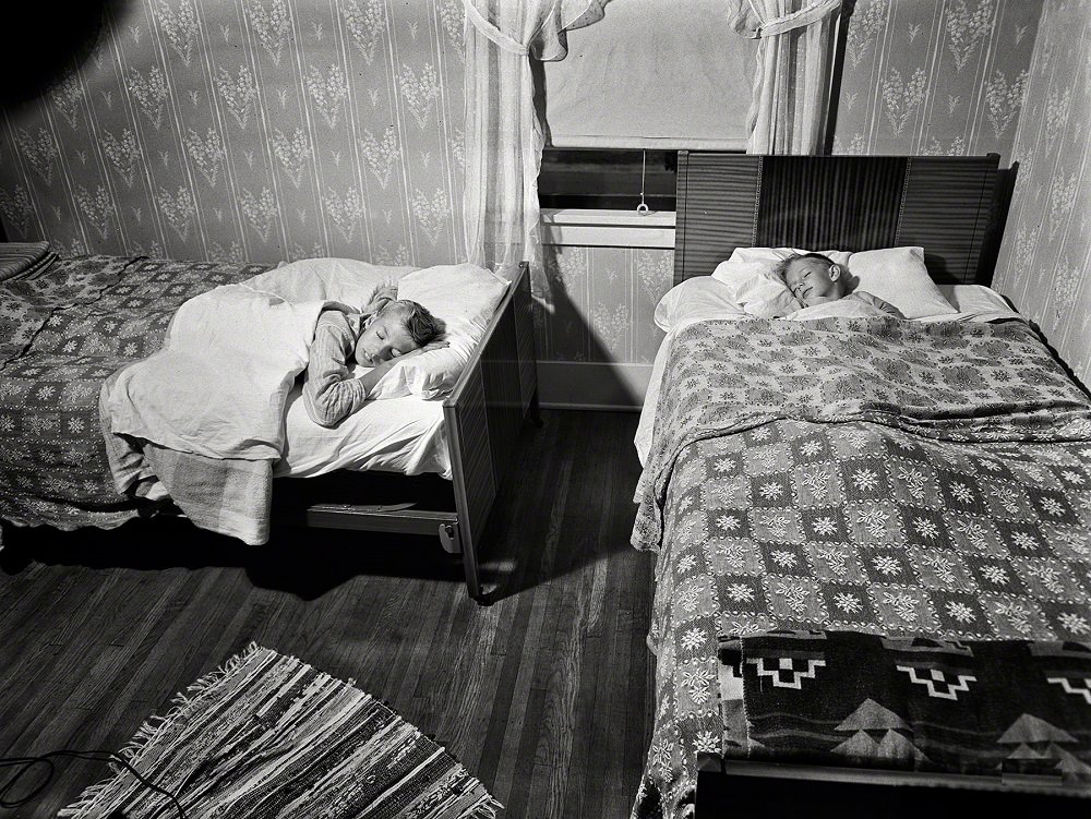 The two Babcock boys share one room, New York, September 1942