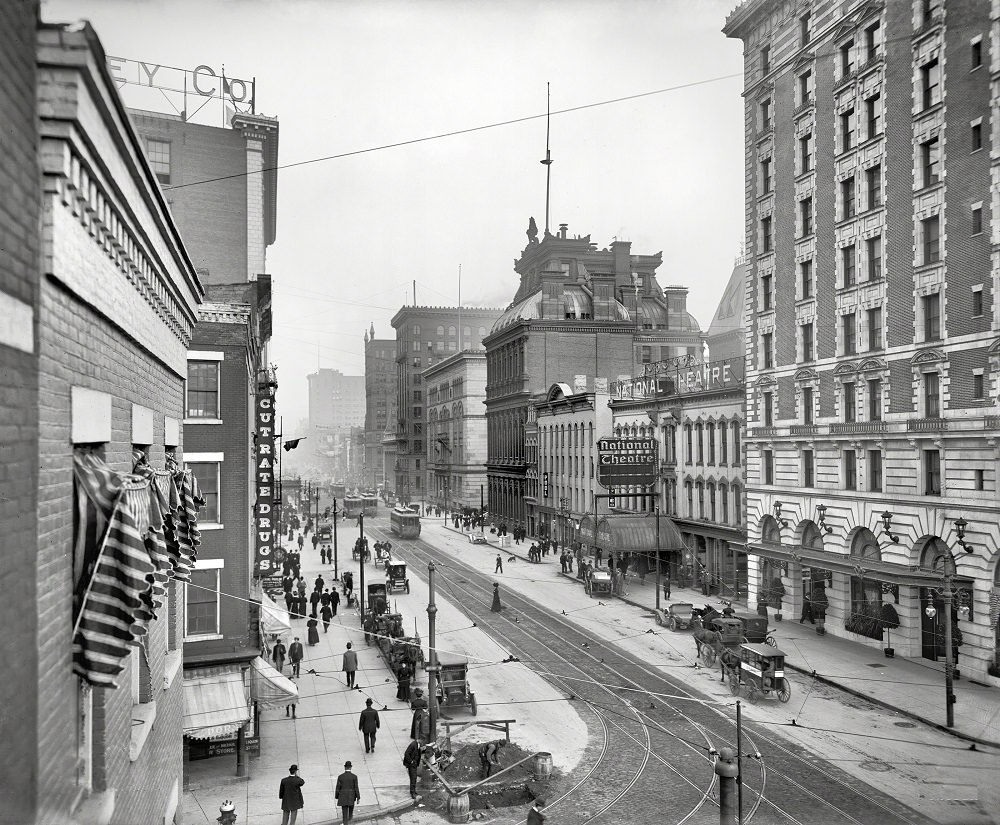 Main Street and Hote, Rochester, New York, 1908