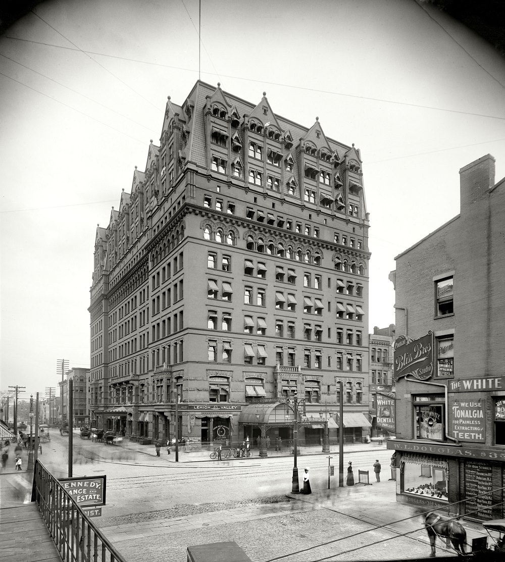 The ectoplasmic pedestrians are out in force, Hotel Iroquois, Buffalo, 1900