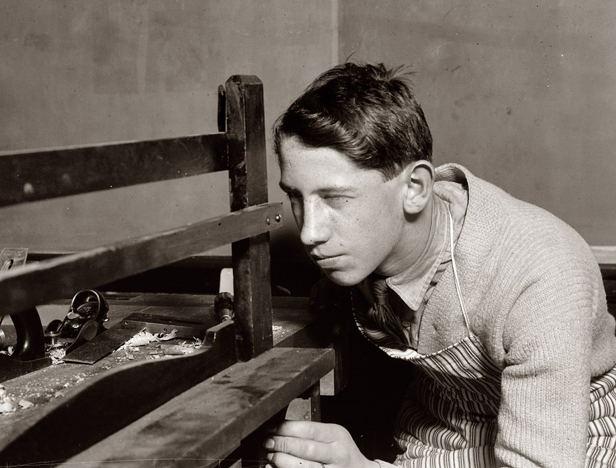 Student at vocational school in Buffalo, New York. February 1910.