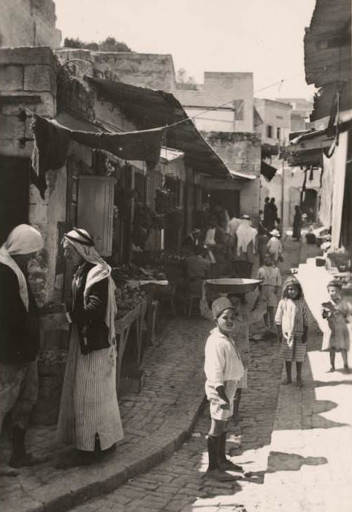 A vegetable market on the streets of Nazareth, Circa 1934-1937