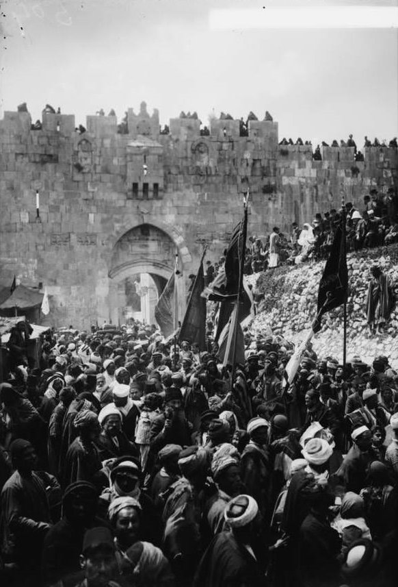 A procession leave Jerusalem, on their way to Nebi Musa to visit the tomb of Moses, 1936