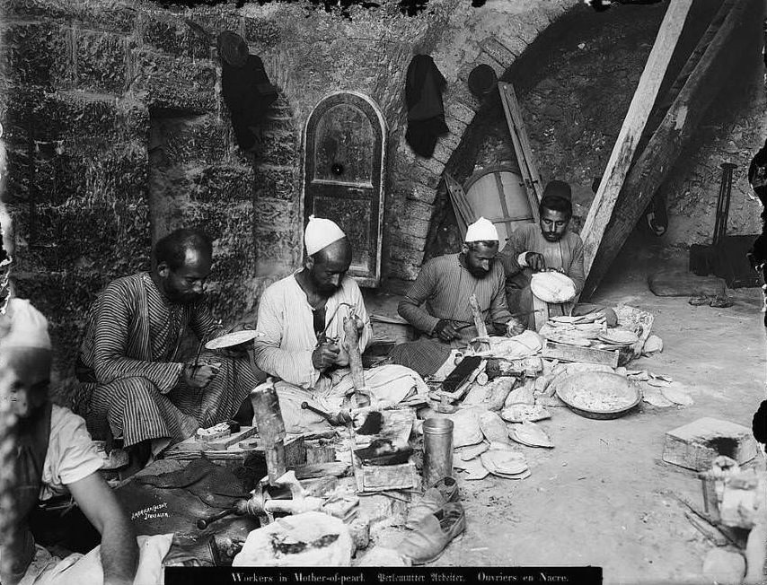 Artisans work with mother of pearl, Circa 1898-1914