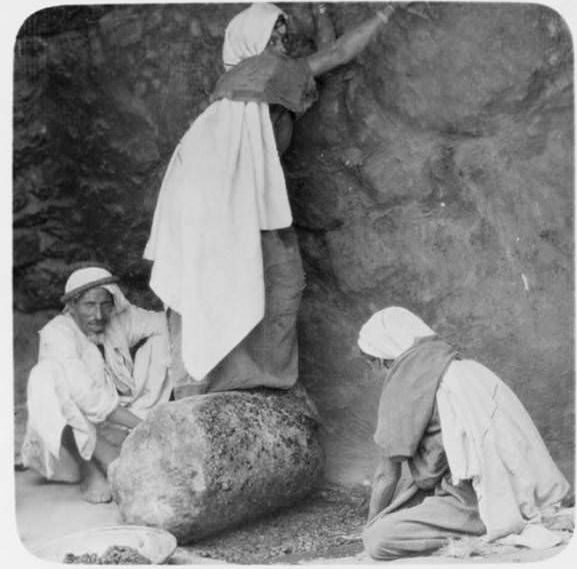Workers crush olives with the broken column of an ancient building.Beit Jibrin, Circa 1920-1933
