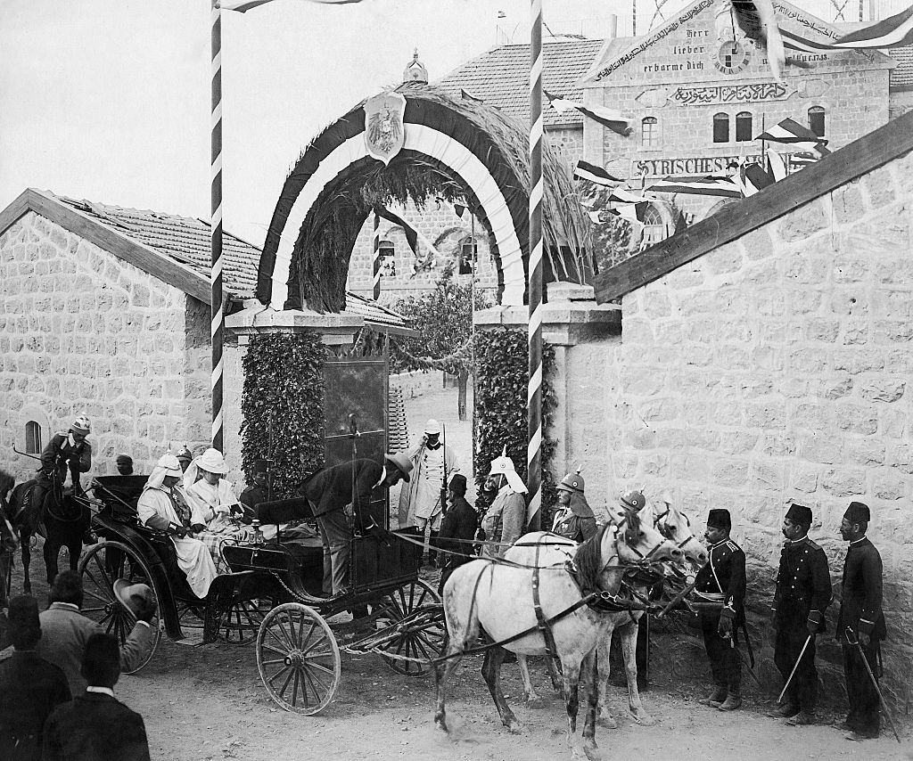 German Emperor, Wilhelm II visiting an orphanage Talitha Kumi in Jerusalem with his wife, Auguste Viktoria, 1890s.