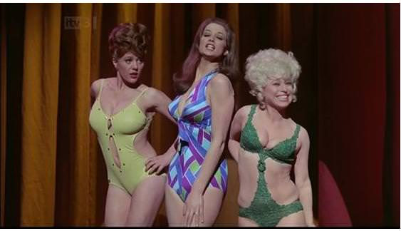 Margaret Nolan with Valerie Leon and Barbara Windsor in Carry on Girls, 1973