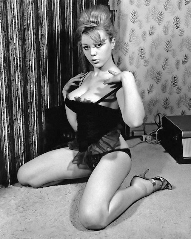 Margaret Nolan photographed in her house, 1960s