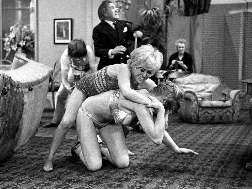 Margaret Nolan and Barbara Windsor in the film 'Carry On Girls', 1973.
