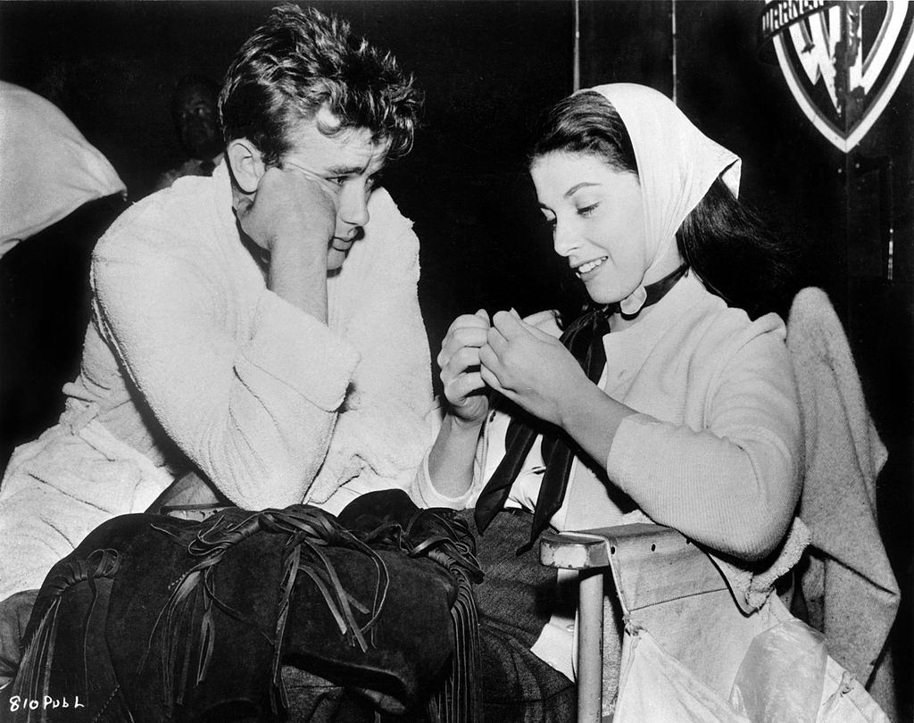 Pier Angeli with James Dean on the set of the Warner Bros film 'East Of Eden' in 1954 in Los Angeles