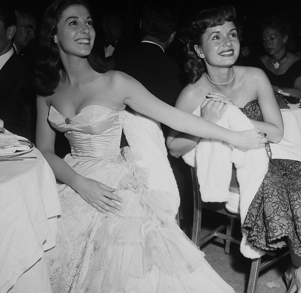 Pier Angeli with Debbie Reynolds at Cocoanut Grove, 1954