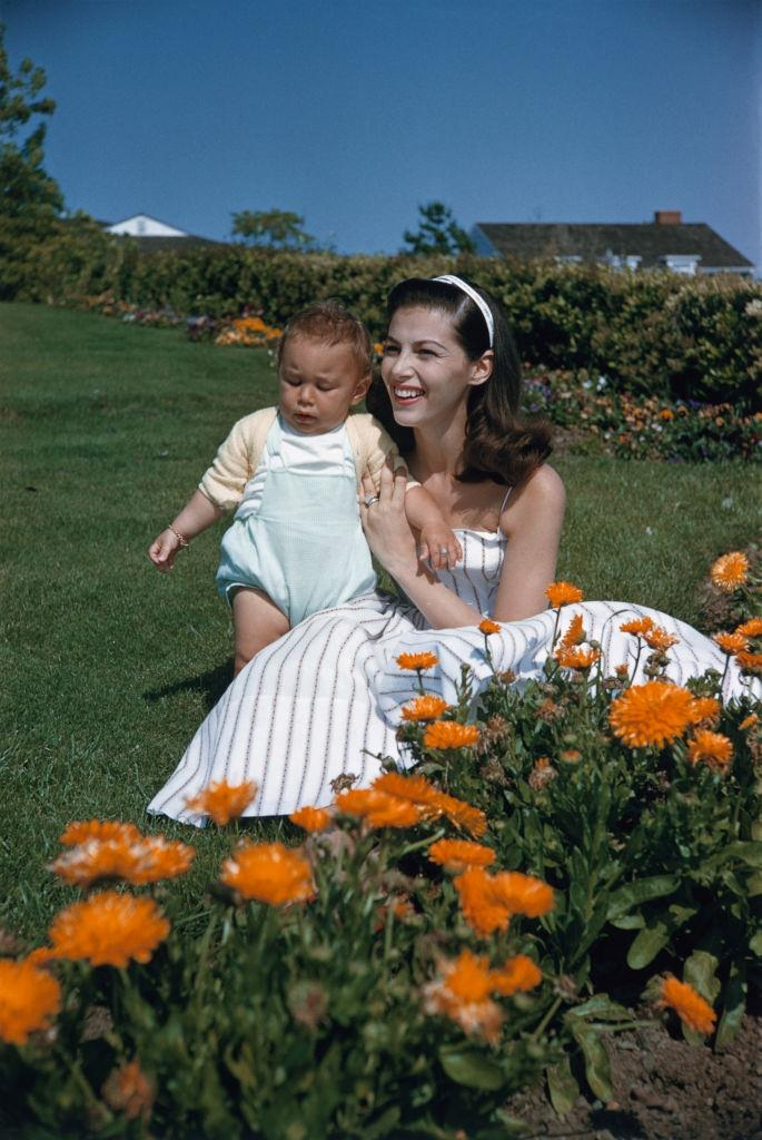Pier Angeli with her son, 1956