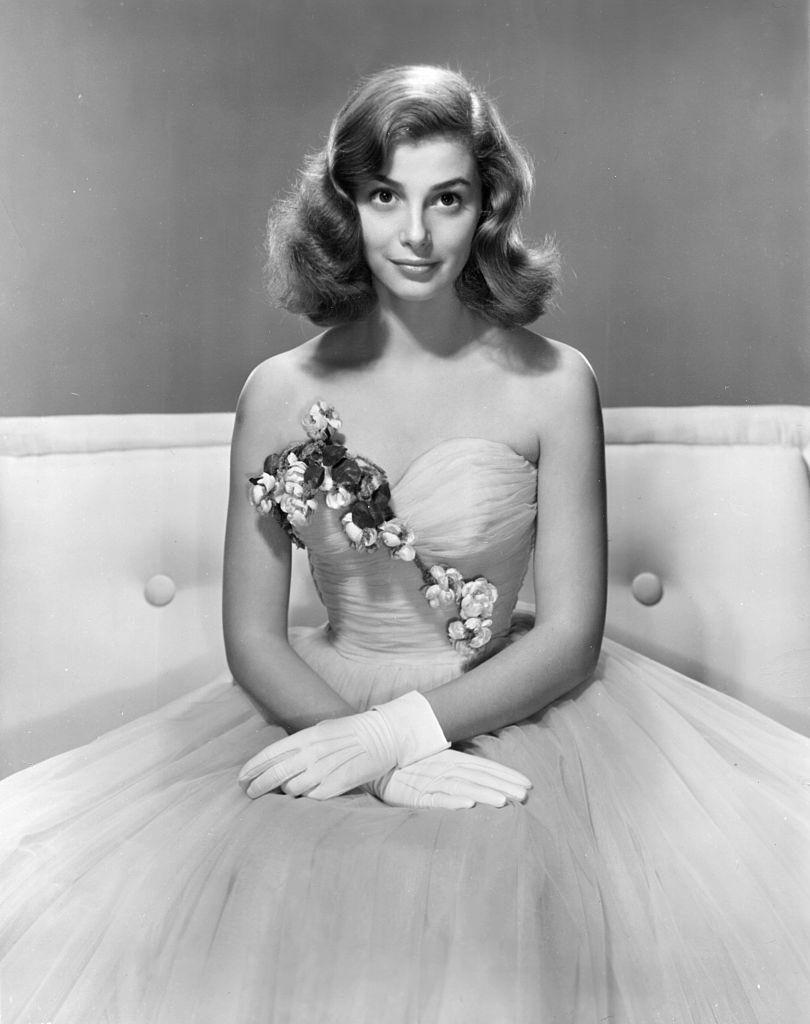 Pier Angeli poses in an evening gown and gloves, circa 1950