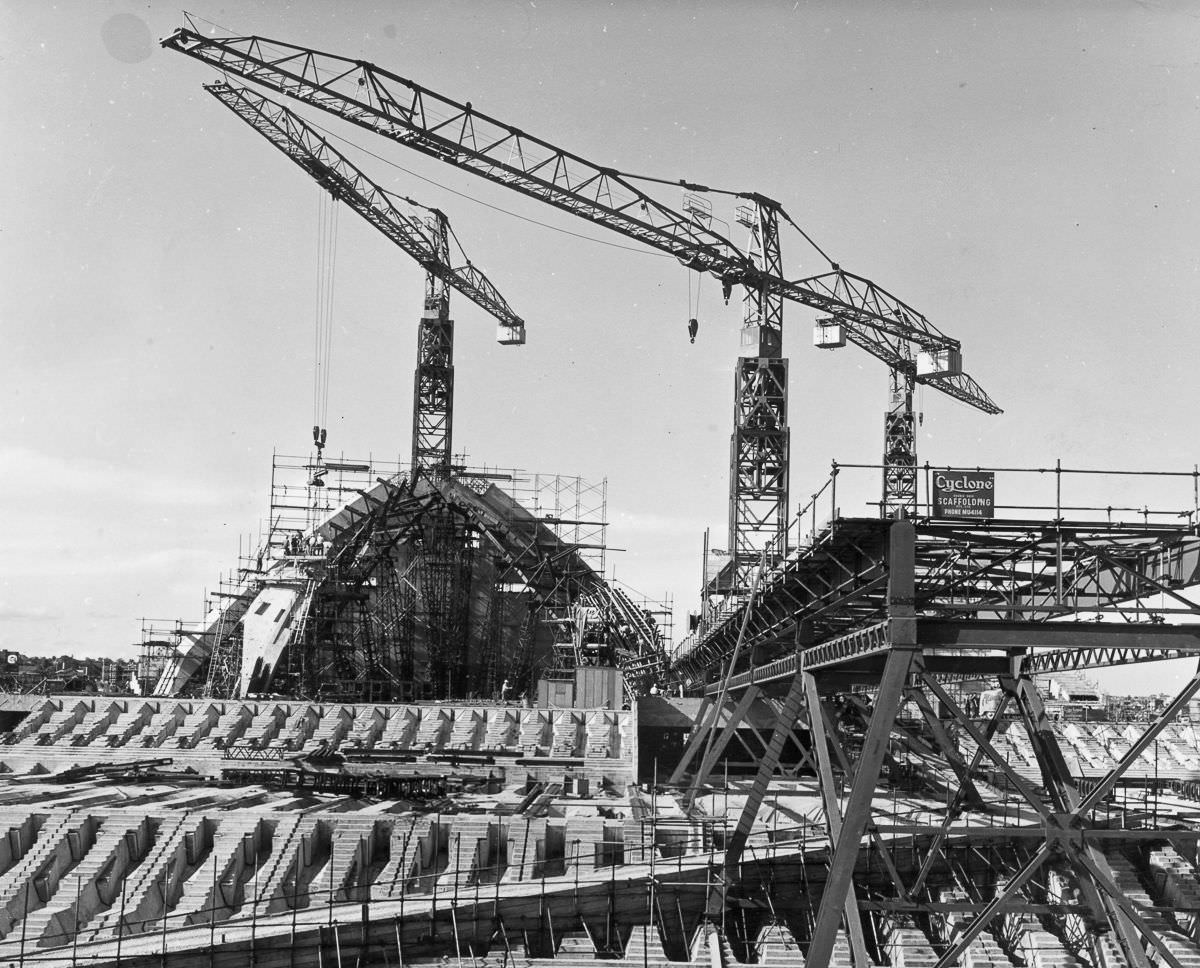 The opera house begins to take shape after four years of work, 1963.