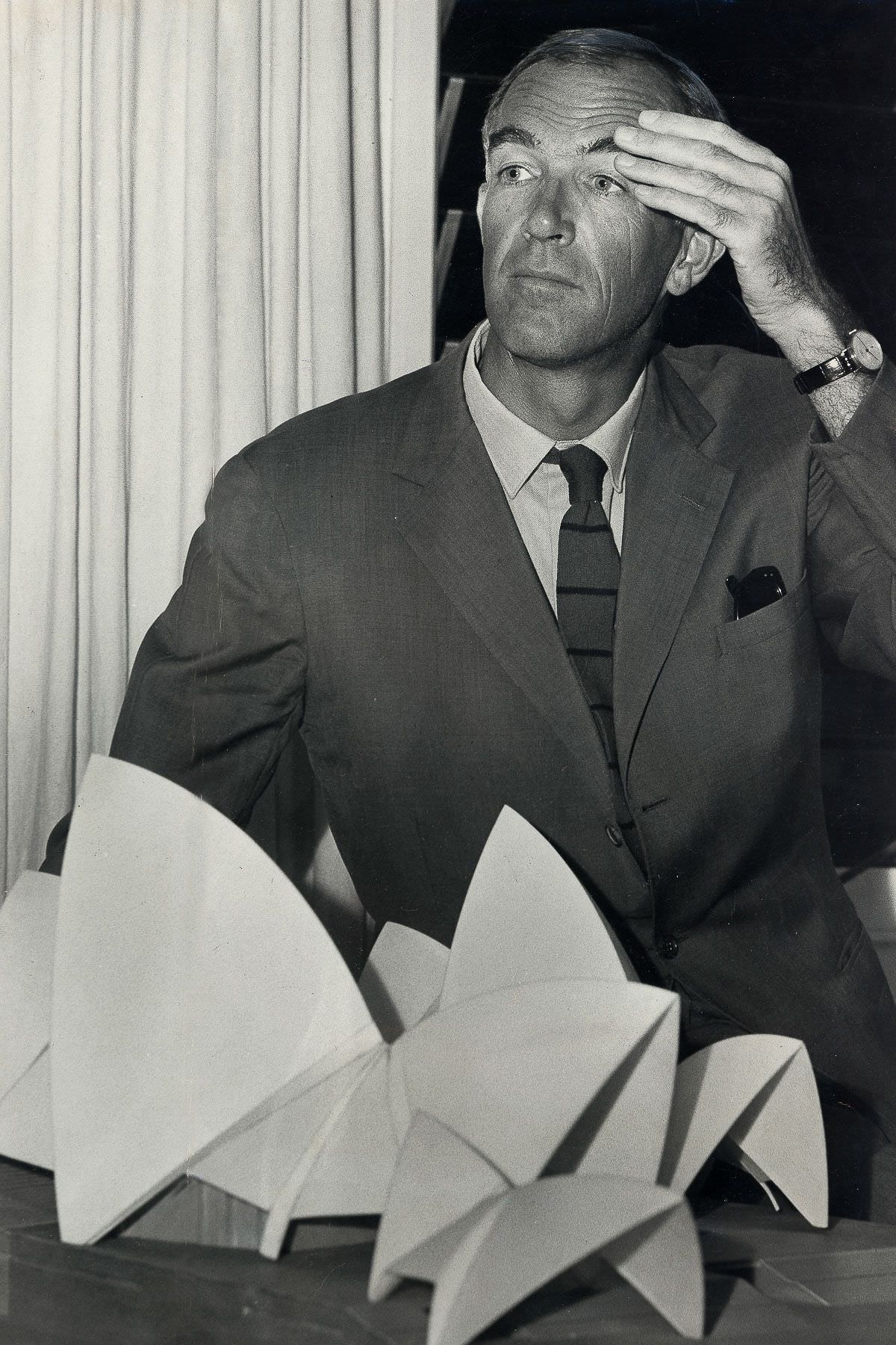 Architect Jørn Utzon after a press conference with a scale model of the Sydney Opera House, March 8, 1966.
