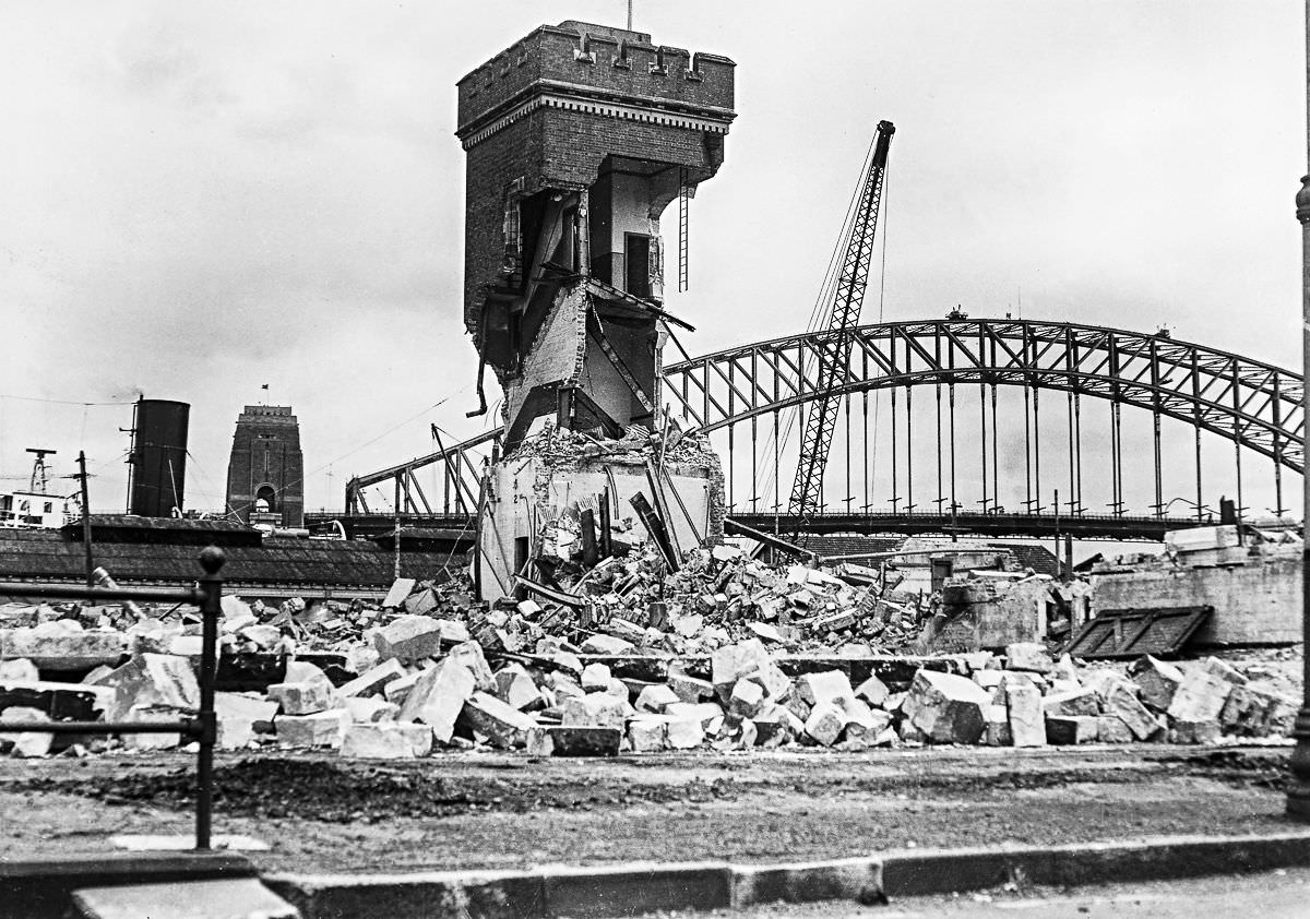 The tram shed at Bennelong Point is demolished to make way for the construction of the Opera House, Dec. 30, 1958