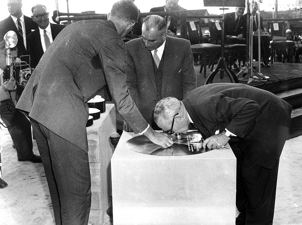 Joern Utzon at the start of construction of the Sydney Opera House on site at Bennelong Point on 27 February 1959