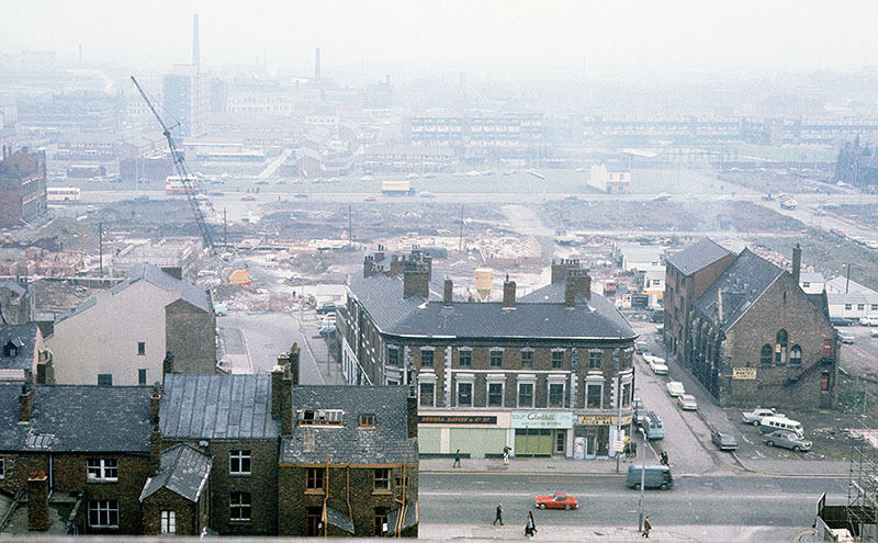 View across Oxford Road at All Saints, looking east from the Chatham Building, November 1970.