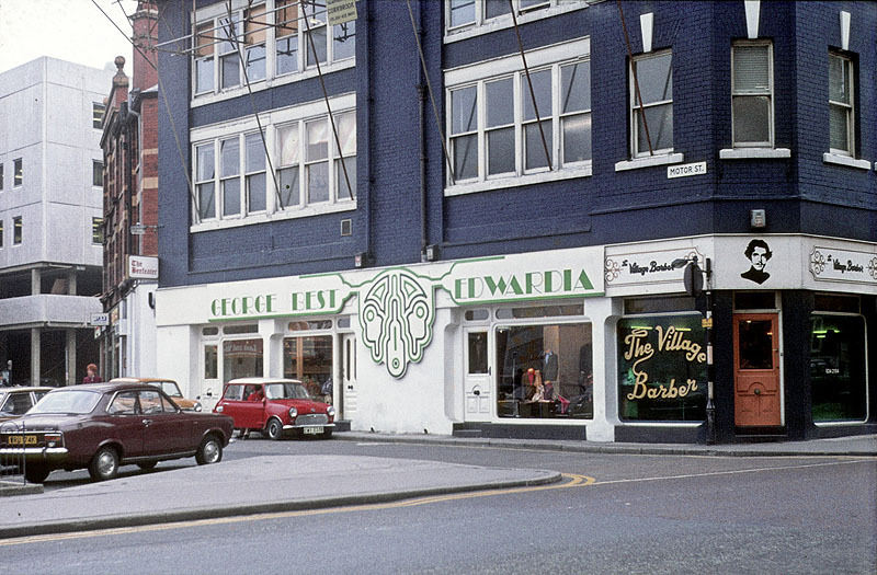 George Best's 'Edwardia' boutique on Motor Street, about 1972.
