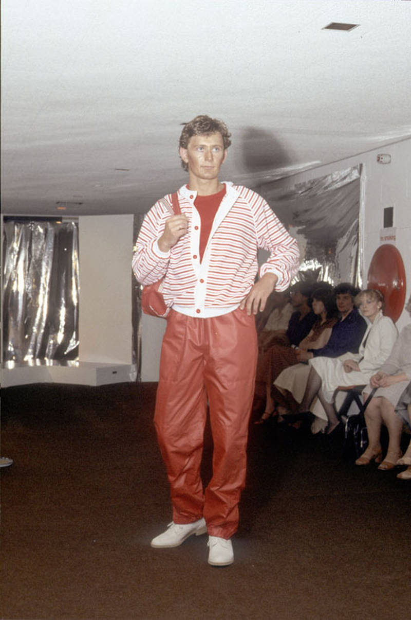 Model wearing clothes designed by a student at Manchester Polytechnic Faculty of Art and Design's fashion show, 1979