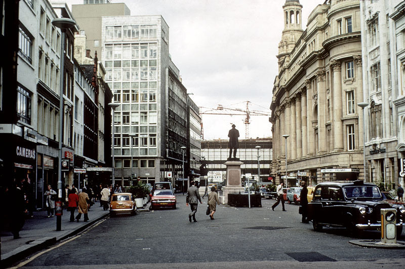 View of St Ann's Square, from the church towards St Mary's Gate in 1976.