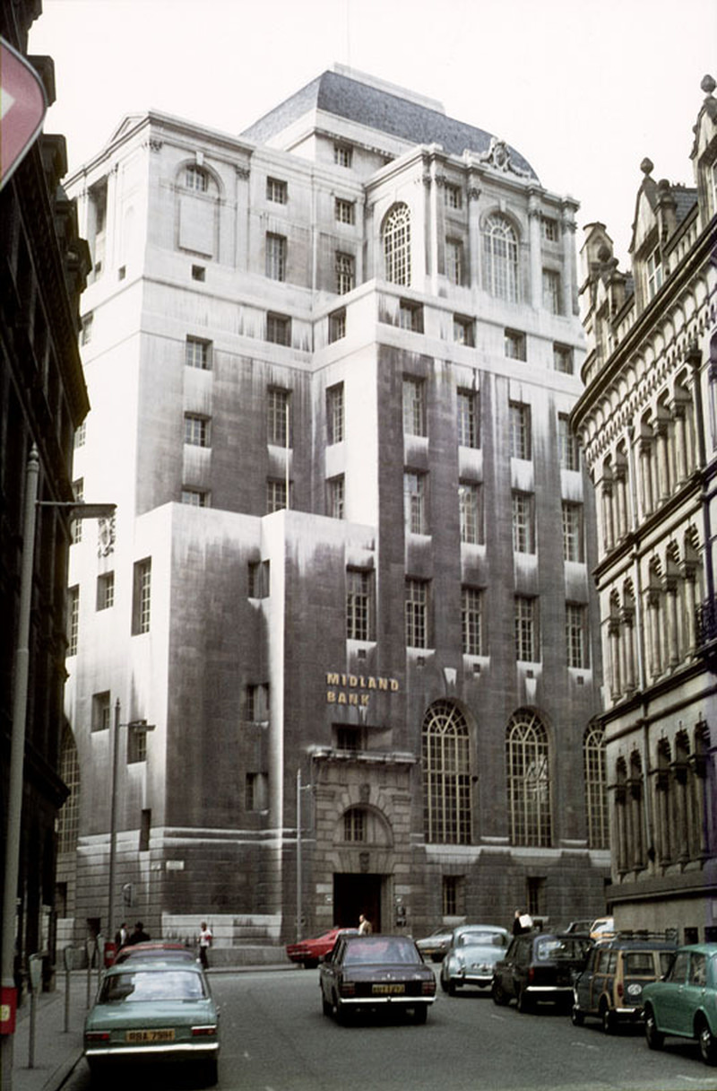 The Midland Bank building from Spring Gardens, around 1971.