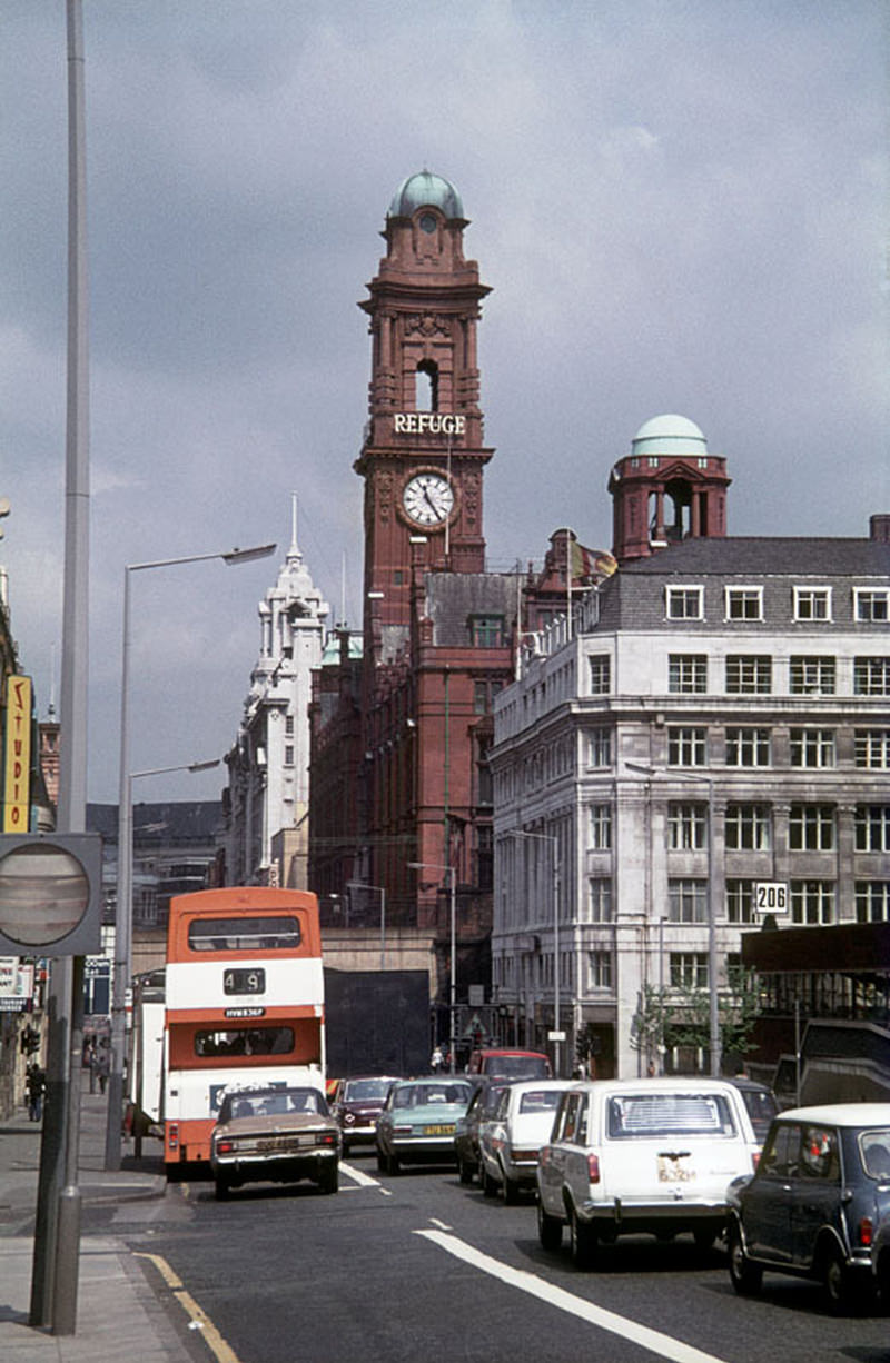 View north along Oxford Road, towards St Peter's Square in 1976.