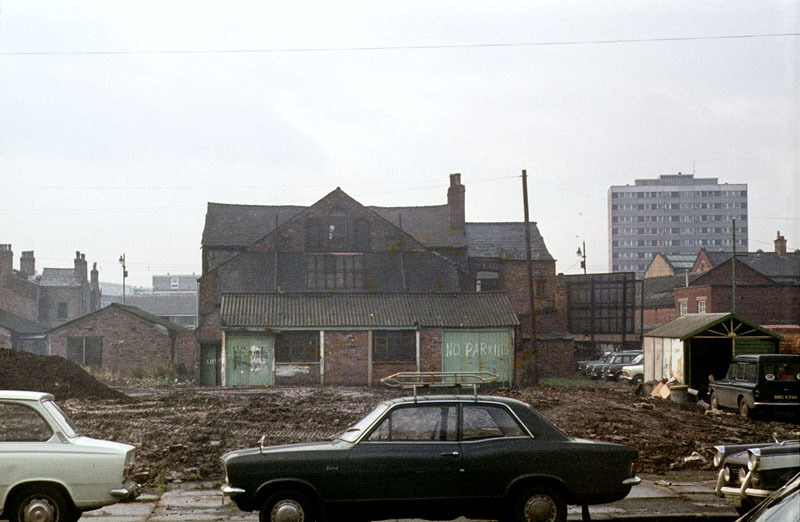 Exterior of the former Bridgewater Theatre, a small Victorian music hall that occupied a site between Cambridge Street and Cowcill Street c.1973