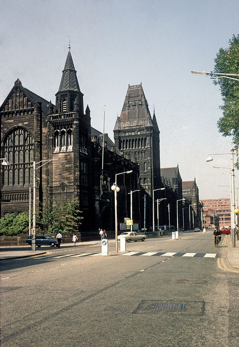 The Victorian buildings of the University of Manchester on Oxford Road, looking north towards the city centre. Photographed in September 1971.