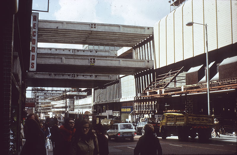 View along Market Street during construction of the Arndale Centre
